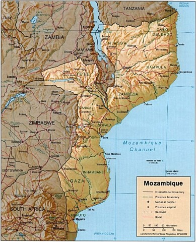 Mozambique Relief Map