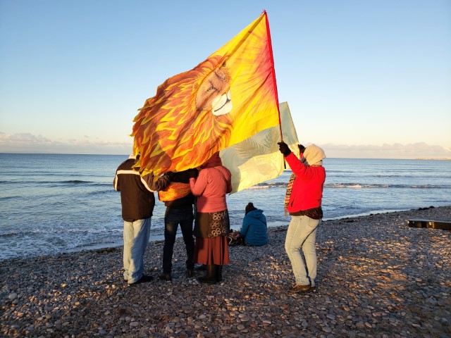 Lion flag on Scottish beach